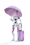 Robot with Umbrella Royalty Free Stock Photos
