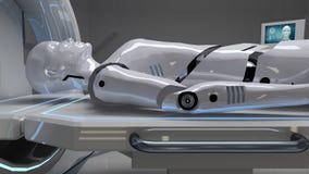 Robot in una funzione medica con la ricerca futuristica del corpo rappresentazione 3d Fotografie Stock