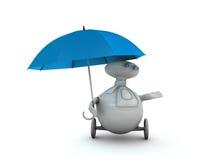 Robot under umbrella Stock Photo