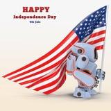 Robot USA 3d illustration Royalty Free Stock Photo