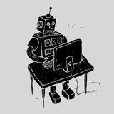 The robot uses a computer Royalty Free Stock Images