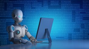 Robot using a computer with binary code, artificial intelligence. In futuristic technology concept, 3d illustration Royalty Free Stock Images