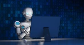 Robot using a computer with data code, artificial intelligence. In futuristic technology concept, 3d illustration Royalty Free Stock Photography