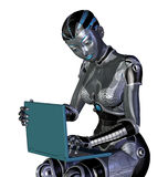 Robot Using a Laptop Computer vector illustration