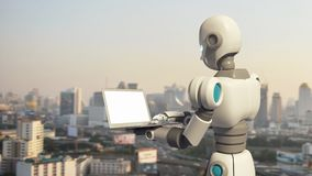 Robot using a laptop computer with blank screen in city. Artificial intelligence in futuristic technology concept, 3d illustration Royalty Free Stock Photo