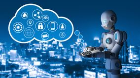 Robot using a laptop computer with circle pointers in city. Infographic template. artificial intelligence in futuristic technology concept, 3d illustration Stock Photography