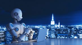 Robot using a laptop computer in city, artificial intelligence. In futuristic technology concept, 3d illustration Stock Image