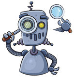 Robot Using Magnifier Royalty Free Stock Images