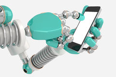 Robot using smart phone Royalty Free Stock Photo