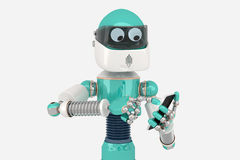 Robot using smart phone Royalty Free Stock Image