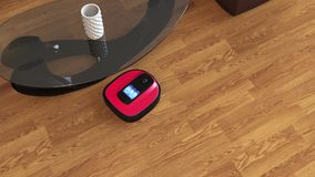 Robot vacuum cleaner moving on flooring stock video