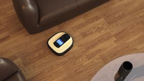 Robot vacuum cleaner moving on flooring stock video footage