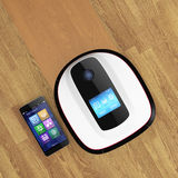 Robot vacuum cleaner and smart phone. Stock Images