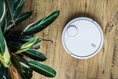 Robot vacuum cleaner on wooden floor. The view from the top. Smart home concept. Automatic cleaning stock images