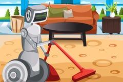 Robot vacuuming carpet. A vector illustration of a robot vacuuming carpet Stock Image