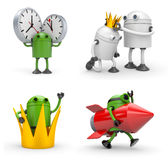 Robot with various situations. Robot with crown, robot with rocket, robot with watches Royalty Free Stock Photo