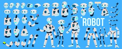 Robot Vector. Animation Set. Mechanism Robot Helper. Cyborgs, AI Futuristic Humanoid Character. Animated Artificial stock illustration