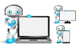 Robot vector characters set holding laptop, mobile phone. And other gadget with empty blank white screen for text and technology information. Vector stock illustration