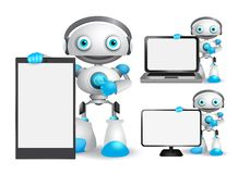 Robot vector characters set holding mobile phone, laptop and other gadget. With empty blank white screen for text and technology information. Vector royalty free illustration