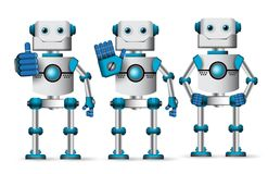 Robot vector characters set standing with different hand gestures. Like approve and stop isolated in white background. Cyborg mascot element vector illustration royalty free illustration