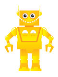 Robot vector. Funny yellow toy robot illustration Stock Image