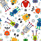 Robot vector pattern. Robot pattern with cute colorful robots on white. Vector illustration Royalty Free Stock Image