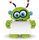 Robot verde e fondo bianco Fotografia Stock