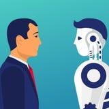 Robot versus Mens Tegenover Concept royalty-vrije illustratie