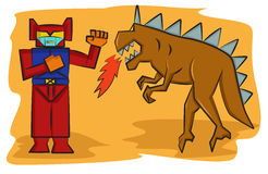 Robot Versus Monster Toy Cartoon. Vector Illustration Stock Photography