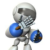 The robot is very shy. 3D illustration Stock Photos