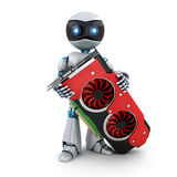 Robot and video card Royalty Free Stock Photography