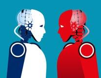Robot vs Robot. Concept technology vector illustration. Technology, Artificial Intelligence royalty free illustration