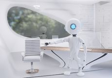 Robot w biurze 3d-illustration ilustracja wektor