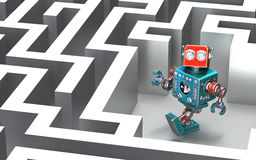 Robot w labiryncie pojęcia odosobniony technologii biel Zdjęcie Stock