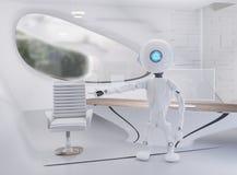 Robot w nowożytnym pokoju 3d-illustration ilustracji