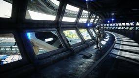 Robot w Sci fi tonnel Poj?cie przysz?o?? Realistyczna 4K animacja zbiory