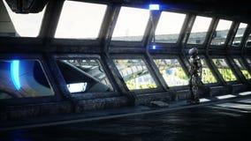 Robot w Sci fi tonnel Poj?cie przysz?o?? Realistyczna 4K animacja ilustracji