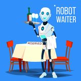 Robot Waiter Holding Tray With Drinks Vector. Isolated Illustration. Robot Waiter Holding Tray With Drinks Vector. Illustration royalty free illustration