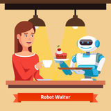 Robot waiter serving coffee and cake Stock Photos