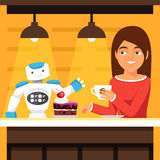 Robot waiter serving coffee and cake Royalty Free Stock Photography
