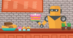 Robot waiter working at pastry shop. Stock Photos