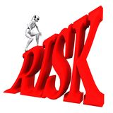 Robot walk high risk. Robot walk risk hazardous precarious venture Stock Illustration