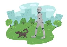 Robot walking the dog outdoors. Futuristic concept stock illustration