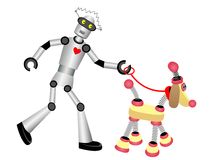 Robot walking robot dog on leash Stock Images