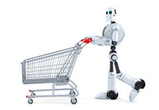 Robot walking with shopping cart. . Contains clipping path.  Stock Photography