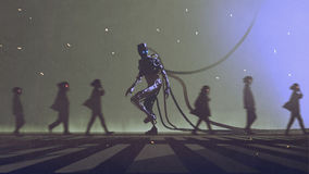 Robot walking to different way among the people. Unique concept of robot walking to different way among the people, digital art style, illustration painting Stock Photos