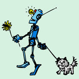 Robot walks his dog. Illustration. Stock Photos