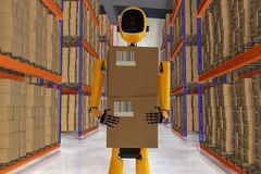 A robot warehouse worker. 3d rendering Stock Photography