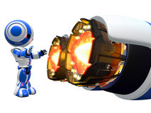 Robot Warming Hands by Jet Engine Stock Image