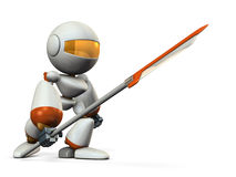 Robot warrior with a large spear. Stock Images